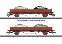 "(Neu) Märklin 45084 Rungenwagen-Set beladen mit 2 ""Saab 92"" Modellen, SJ, Ep.III,"