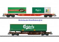 (Neu) Märklin 47109 KLV-Güterwagen-Set, Tuborg/Carlsberg, Ep.VI,