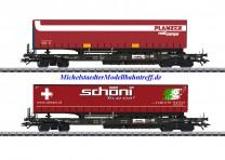 (Neu) Märklin 47115 Taschenwagen-Set mit LKW-Sattel-Aufliegern, Ep.VI,