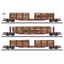 (Neu) Märklin 47146 Rungenwagen-Set, Holztransport, DB AG, Ep.VI,