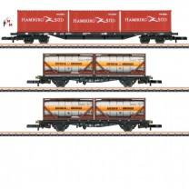 (Neu) Märklin MHI Spur Z 82663 Containertragwagen-Set, DB AG, Ep. V/VI,