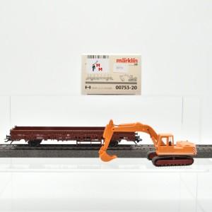 Märklin 00753-20 Rungenwagen, Beladung Schaufelbagger, (20731)