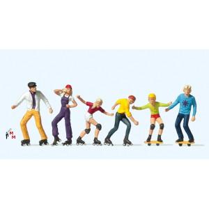 (Neu) Preiser 10074 Rollerskate und Skateboard,
