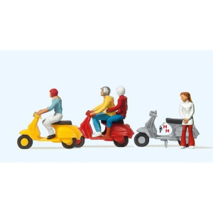 (Neu) Preiser 10128 Motorroller- Vespa-Fahrer,