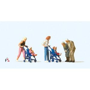 (Neu) Preiser 10493 Mütter mit Kinder im Kinderwagen,