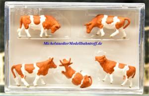 (Neu) Preiser 14155 Kühe, braun-weiß,