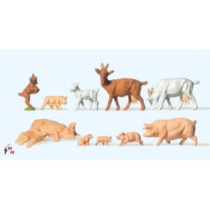 (Neu) Preiser 14162 Ziegen und Schweine,