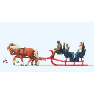 (Neu) Preiser-Weihnachten 30420 Touristen im Weihnachtsschlitten,