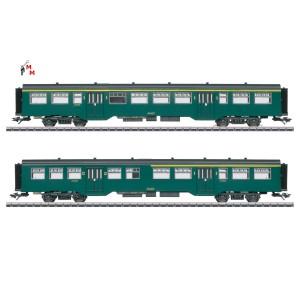 (Neu) Märklin 43547 Personenwagen-Set M2, grün SNCB, Ep.III,