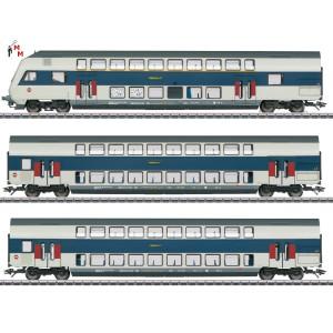 (Neu) Märklin 43599  Doppelstockwagen-Set der DSB, Ep.VI,