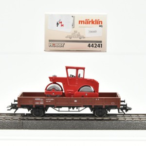 Märklin 44241 Niederbordwagen der DB mit Straßenwalze, (20660)