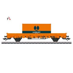 (Neu) Märklin 46933 Niederbordwagen mit Boxcontainer der DSB, Ep.VI,