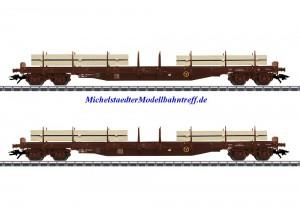 (Neu) Märklin 47150 Rungenwagen-Set Rs, ÖBB, mit Schnittholz, Ep.IV,