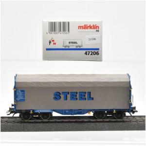 "Märklin 47206 Drehgestellwagen mit Plane ""Steel"", (21196)"