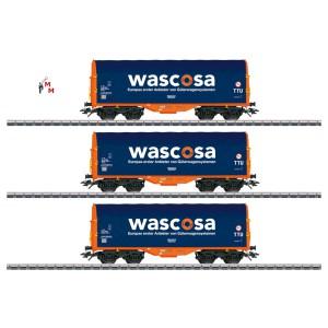(Neu) Märklin 47223 Schiebeplanenwagen-Set Wascosa, Ep.VI,