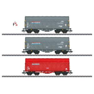 (Neu) Märklin 47224 Schiebeplanenwagen-Set Nacco der NL, Ep.VI,