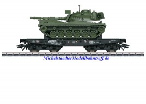 (Neu) Märklin 48798 Schwerlast-Flachwagen mit Kampfpanzer, DB, Ep.IV, (geänderte Betriebsnummer)