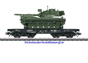 (Neu) Märklin 48799 Schwerlast-Flachwagen mit Kampfpanzer, DB, Ep.IV, (geänderte Betriebsnummer)