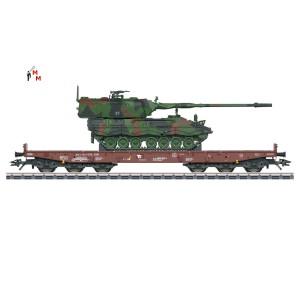 (Neu) Märklin 48872 Schwerlastflachwagen Samms 709, Ladegut; Panzerhaubitze, Ep.VI,