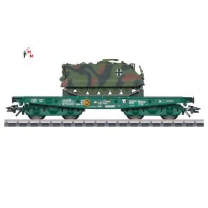 (Neu) Märklin 48874 Schwerlastflachwagen Rimmps, Ladegut; Panzer M 113, Ep.VI,