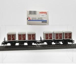 Märklin 48940 Doppeleinheit Behälter-Tragwagen, DB, (22933)