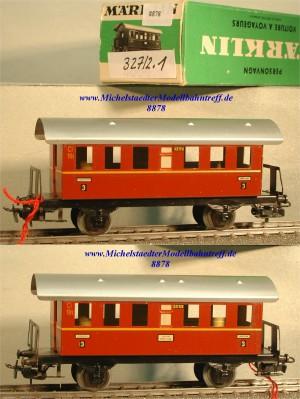 Märklin 327/2.1 Personenwagen, braunrot, 3.Kl., (8878)