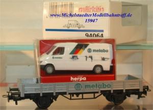 """Märklin 94064 Niederbordwagen """"Metabo Transit"""", (15947)"""
