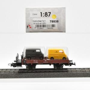 Tillig 78835 Niederbordwagen der DB, Ladegut: 2 LKW´s, Ep.III, (22646)