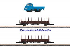 (Neu) Märklin 82132 Spur Z Rungenwagen-Set der DB, Ep.III,