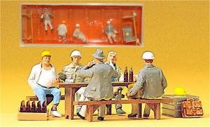 (Neu) Preiser 10338 Bauarbeiter in der Pause,