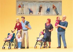 (Neu) Preiser 10494 Eltern mit Kindern und Kinderwagen,