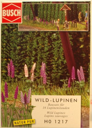 (Neu) Busch HO 1217 Wild-Lupinien, Bausatz für 16 Blumen,