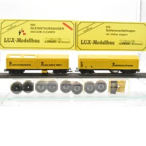 Lux 9620 Digitales Gespann, Gleisstaubsauger und Schienen- und Oberleitungsreinigungswagen, HO, (21075)