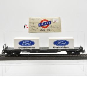 Liliput 202 15 Tiefladewagen mit 2 Containern, ÖBB, Wechselstrom, (20959)