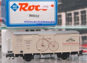 """Roco W0032 Ged. Güterwagen Flachdach """"Dt. Museum"""", (14362)"""