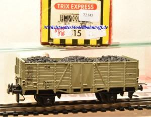 Trix Express (3)415 Offener Güterwagen der DB, grau, mit Kohleladung, (22145)