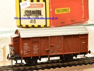 Trix Express 418 Gedeckten Güterwagen der DB, Modell in Gussausführung, (22136)