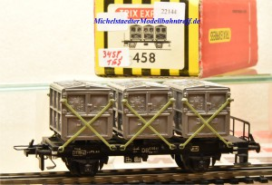 Trix Express (3)458  Behältertragwagen der DB, Modell in Gussausführung, (22144)