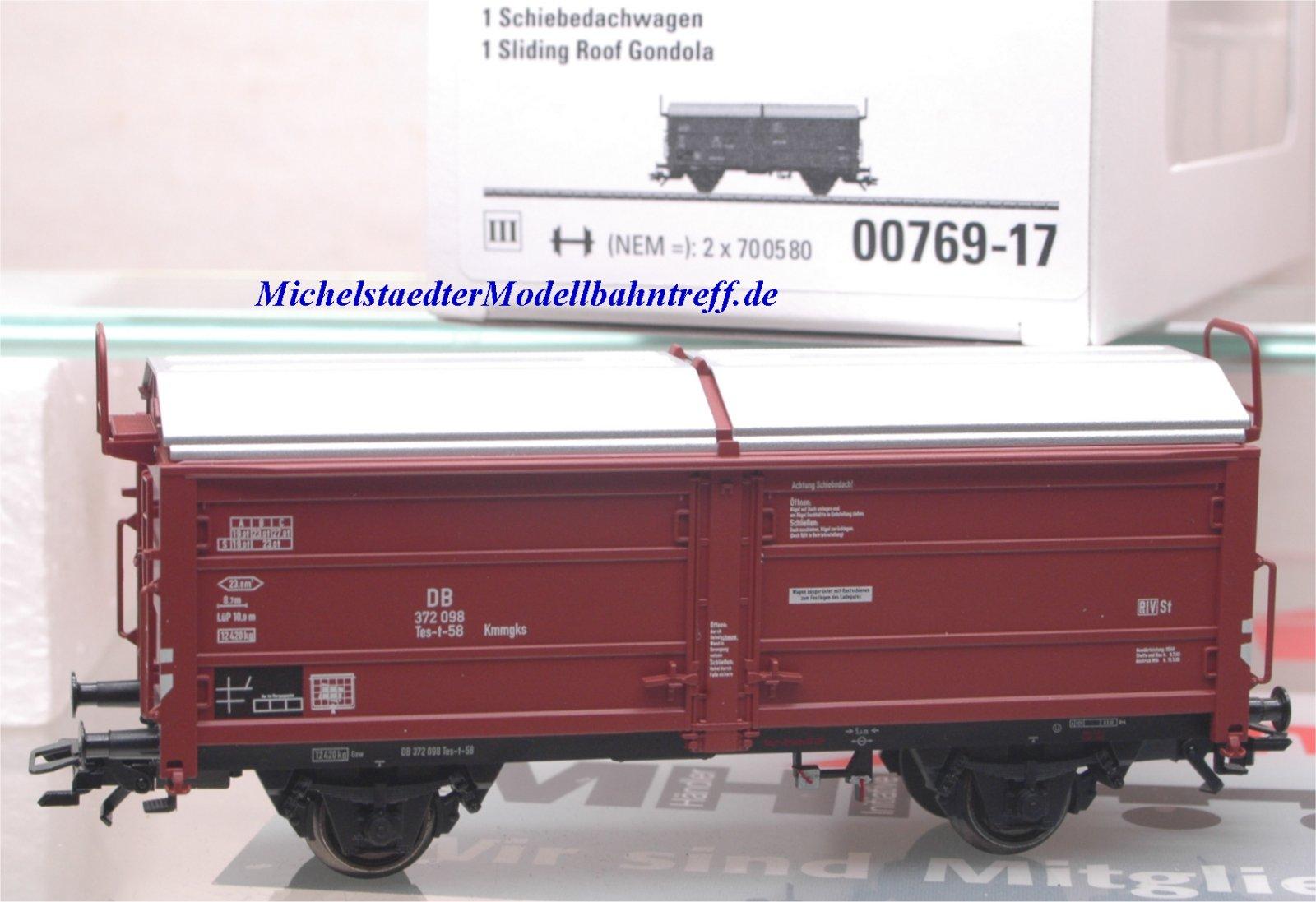(Neu) Märklin 00769-17 Schiebedachwagen ohne Bremserbühne, DB,