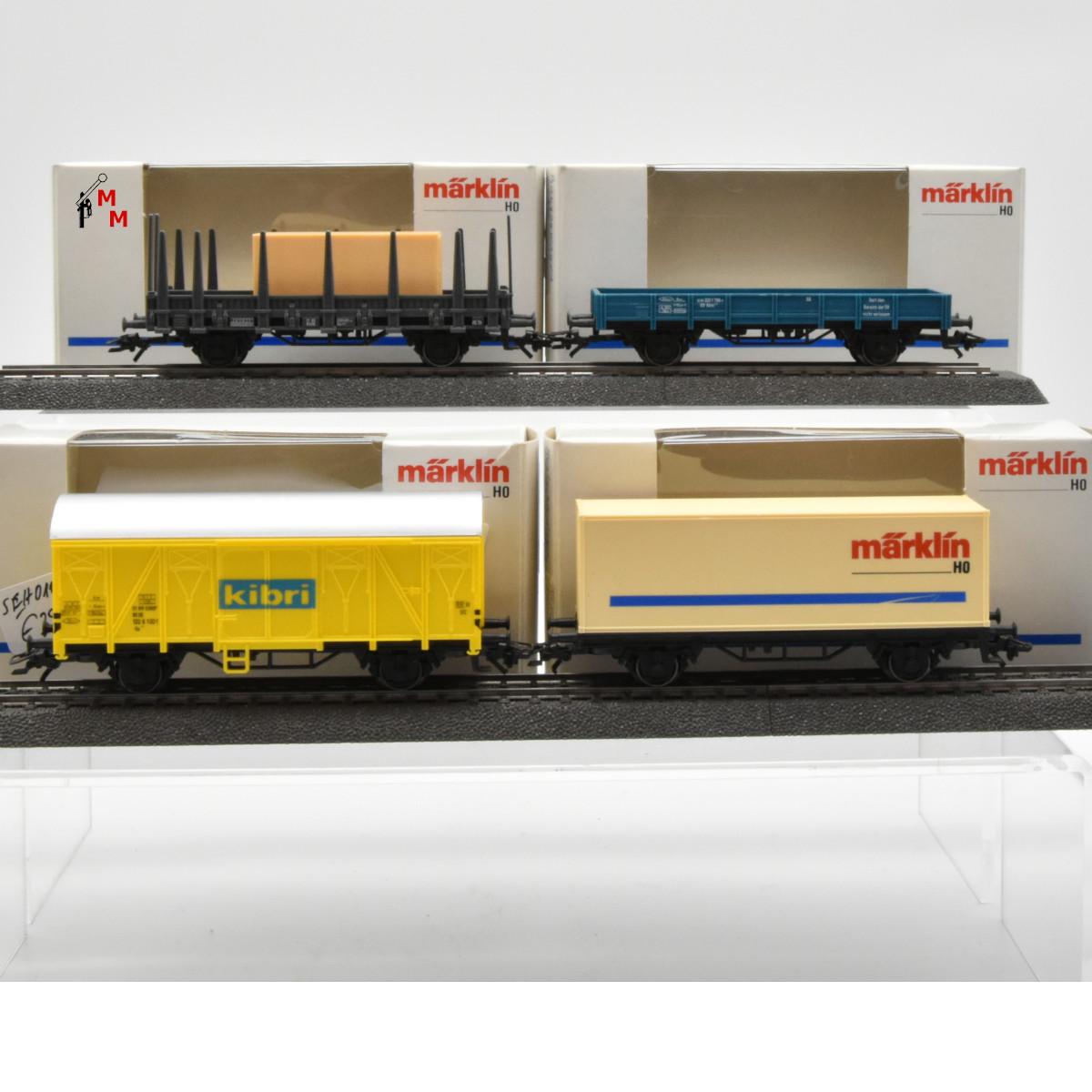 """Märklin 0112.999 Vier Güterwagen aus der Zugpackung """"Kibri-Ausstellungsanlage"""", (23018)"""