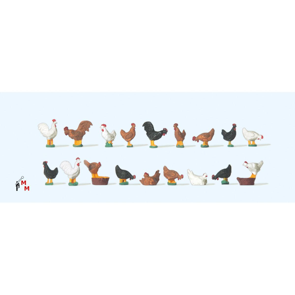 (Neu) Preiser 14168 Tierfiguren, Hühner,