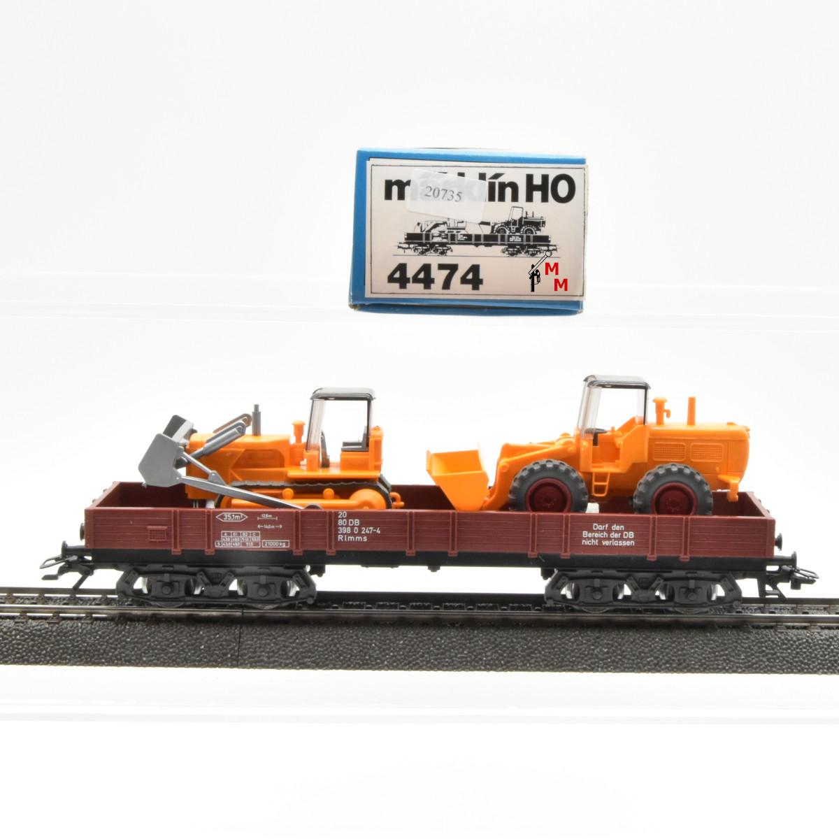 Märklin 4474.4 Niederbordwagen mit  Planierraupe und Schaufellader, (20735)