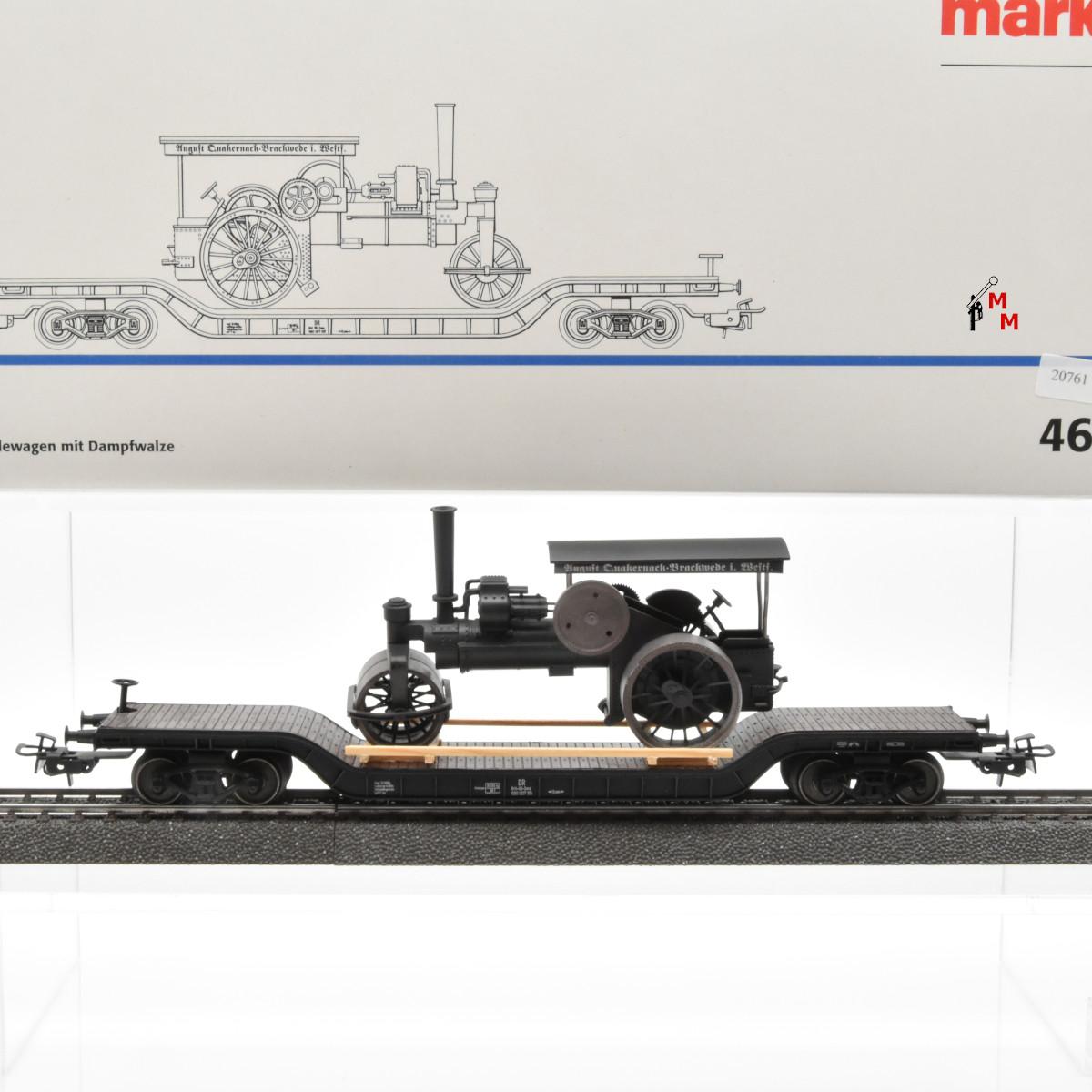 Märklin 46189 Wagenset Tiefladewagen mit Dampfwalze, (20761)