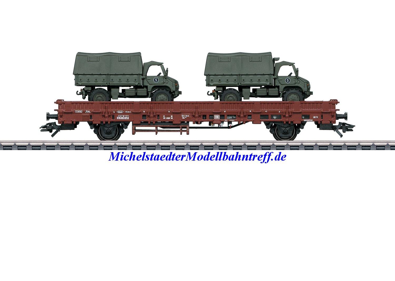 (Neu) Märklin 46936 Rungenwagen mit Unimog als Beladung, DB, Ep.IV,