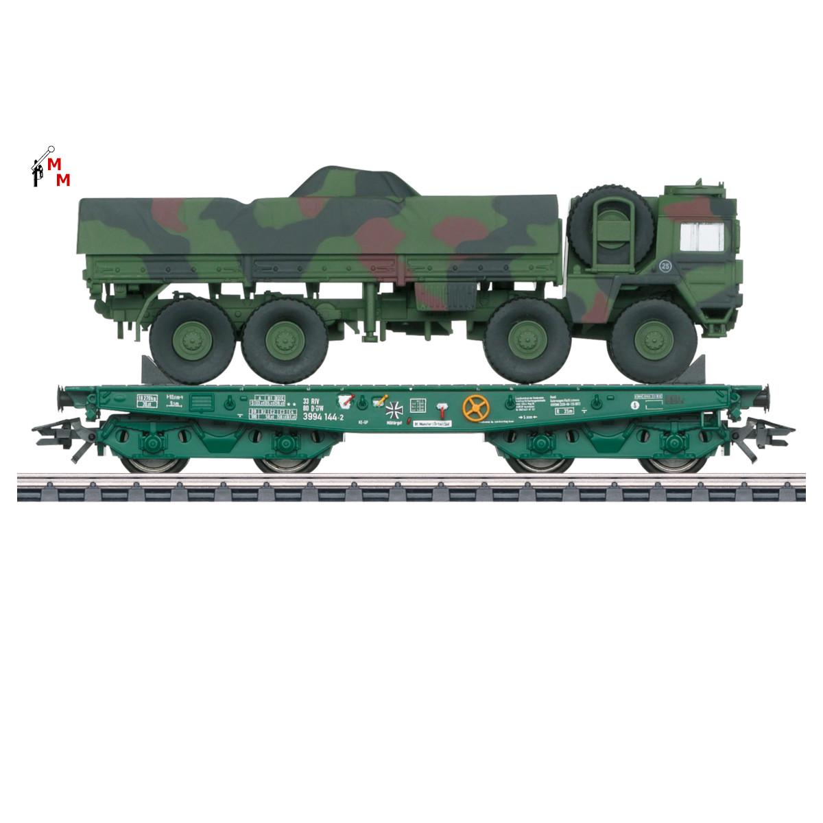 (Neu) Märklin 48875 Schwerlastflachwagen Rimmps, Ladegut; MAN, Ep.VI,