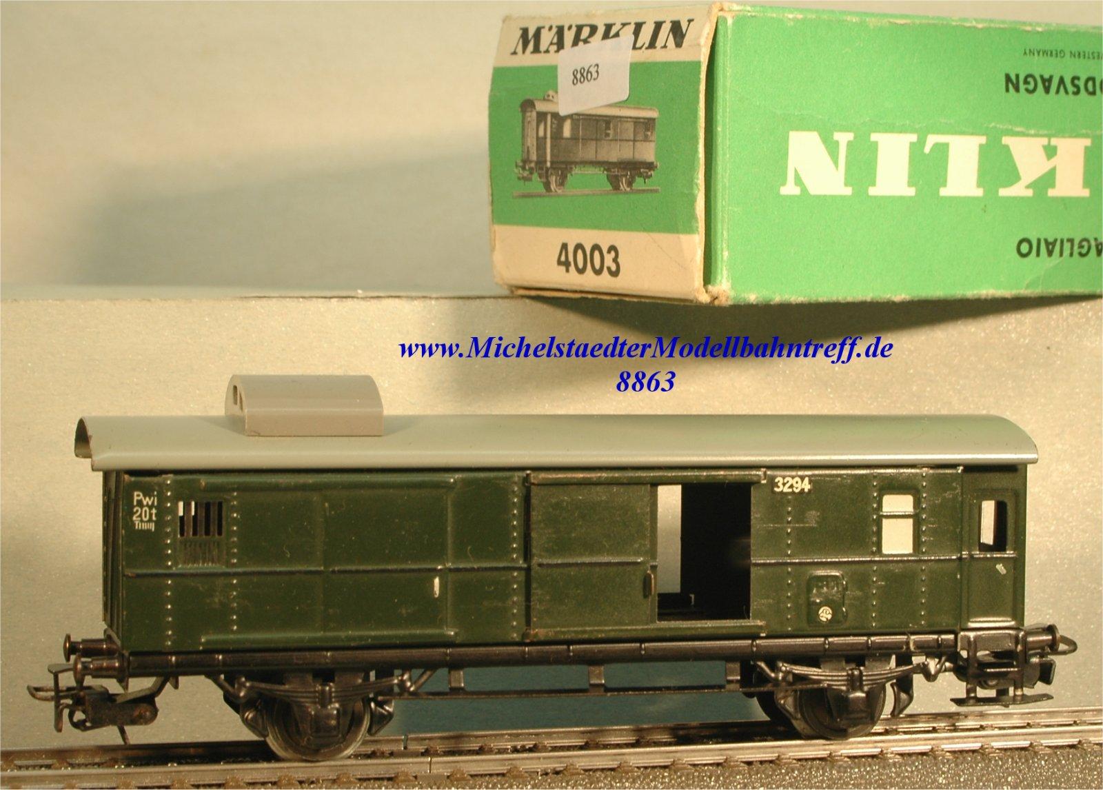 Märklin 4003.4 Personenzu-Gepäckwagen DB, grün, (8863)