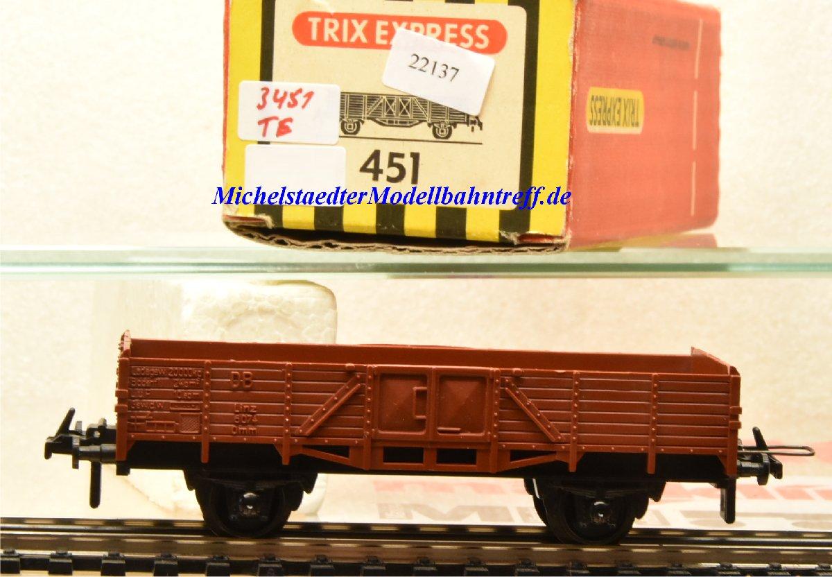 Trix Express 3451 Niederbordwagen der DB, (22137)